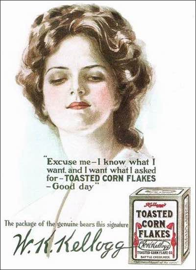 1908 Corn Flakes Illustration Featuring a Beautiful Woman