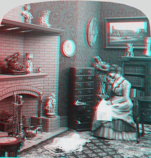 3D Anaglyph Image of a Lady Looking into a Stereoscope