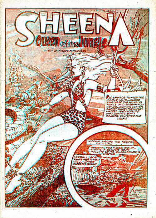 Front Page of 3D Sheena Jungle Queen Comic Book 1953