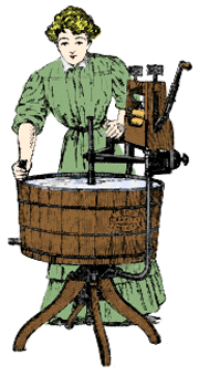 Vintage Illustration of a Lady Using an Antique Wringer Washer