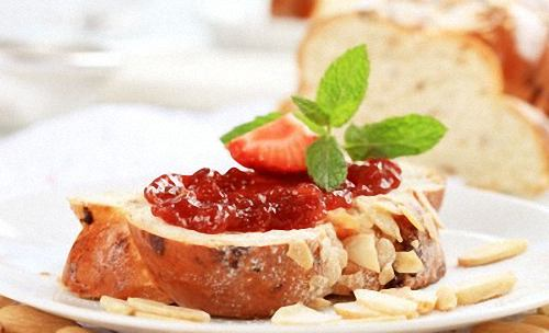 Slice of Braided Easter Bread with Strawberry Jam