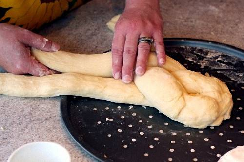 Braiding Bread by Folding the Right Strand Over the Middle