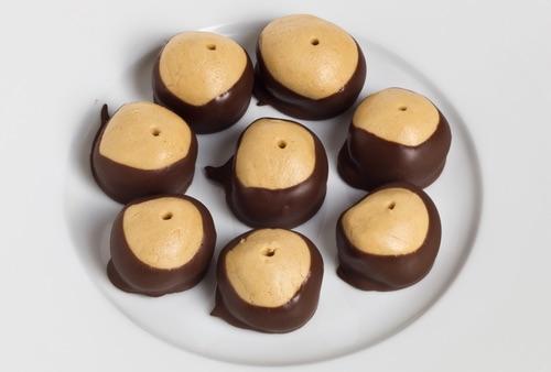 Plateful of Homemade Buckeye Peanut Butter Ball Candies