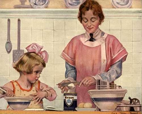 Vintage Mother and Daughter Baking a Cake