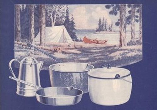 Lake Scene and Camping Cookware