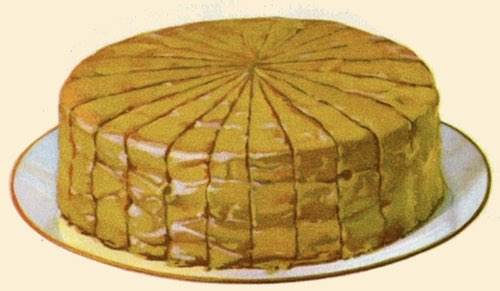 Caramel Picnic Cake Sliced and Ready to Serve