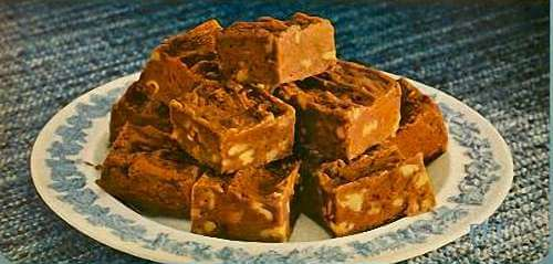 Plateful of Delicious Chocolate Nut Fudge