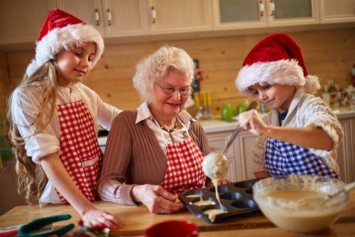 Children Christmas Baking with Their Grandma