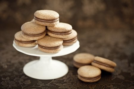 Cookie Sandwiches Served on a Cake Stand