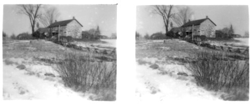 Stereoscopic Photo of a Stone House