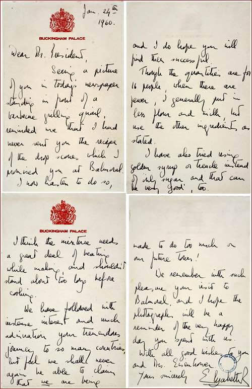 Queen's Letter to Eisenhower Concerning Drop Scones