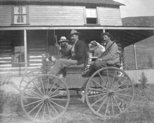 John Ware, Ernest Leopold Bell, and Friend in Alberta, 1912