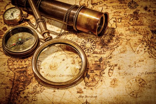 Antique Map, Compass, Watch, and Telescope