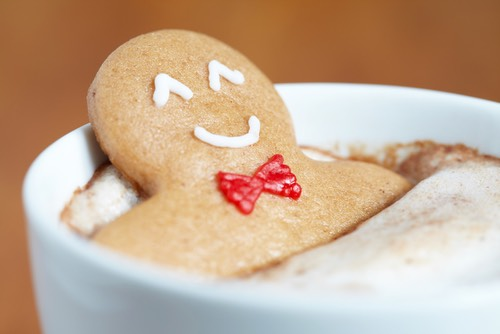 Gingerbread Man Cookie in Hot Chocolate
