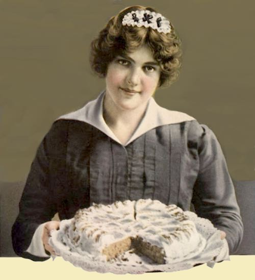 Vintage Illustration of a Maid Serving an Iced Homemade Cake