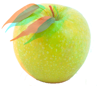 Ripe Green Apple in Anaglyph 3D