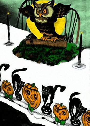Halloween Dessert Table Decorated With Owl Centerpiece