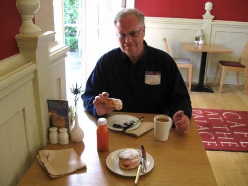 Don Bell Enjoying A Scottish Fruit Scone, Cafe At The Palace, Edinburgh