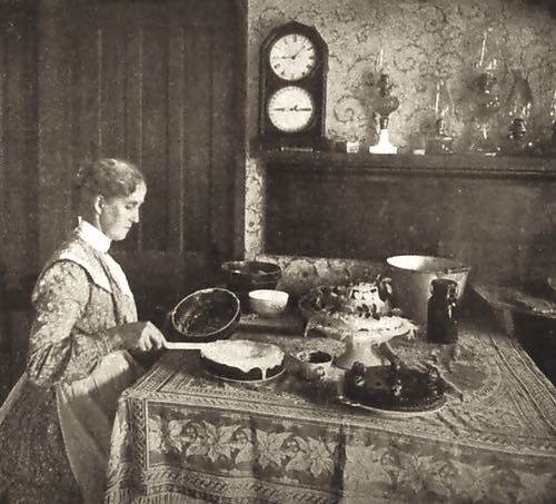 Lady Icing a Cake in the 1890s