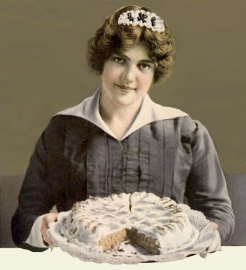 Vintage Illustration of a Maid with a Homemade Dessert Cake