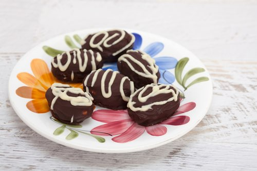 Plateful of Homemade Chocolate Easter Eggs