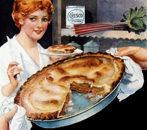 Vintage Homemade Rhubarb Pie Illustration 1918
