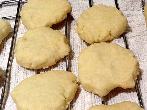 Homemade Shortbread Cookies Cooling on a Wire Rack