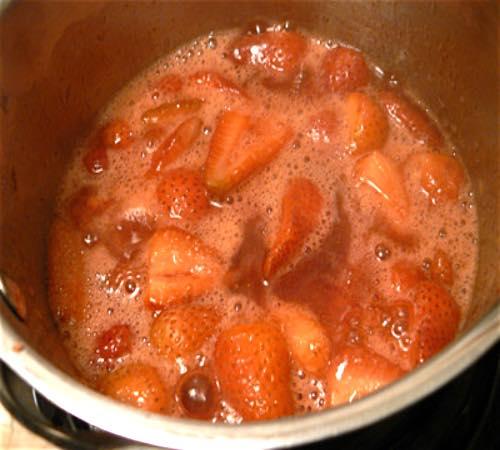 Heating Strawberries in a Saucepan