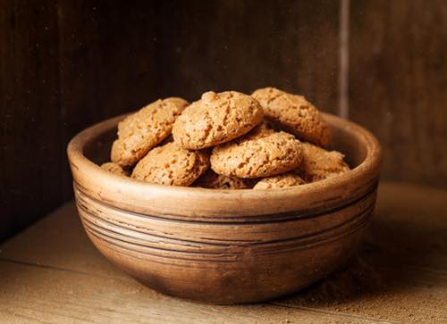 Italian Amaretti Cookies in a Bowl