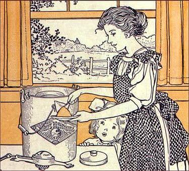 Vintage Illustration of a Lady Making Ice Cream with a Hand Crank Freezer