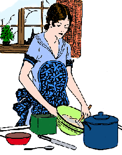 Vintage Housewife Mixing a Pudding