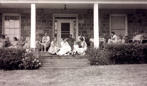 McIlmoyle Family Gathering for Sunday Lunch on the Verandah of Their Selwyn, Ontario Home