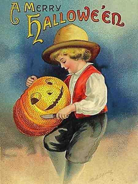 Merry Halloween Vintage Card