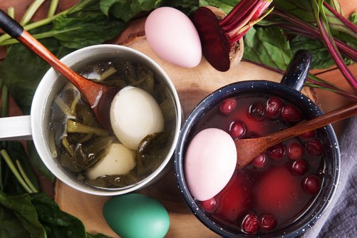 Boiling Spinach and Beets for Natural Egg Coloring