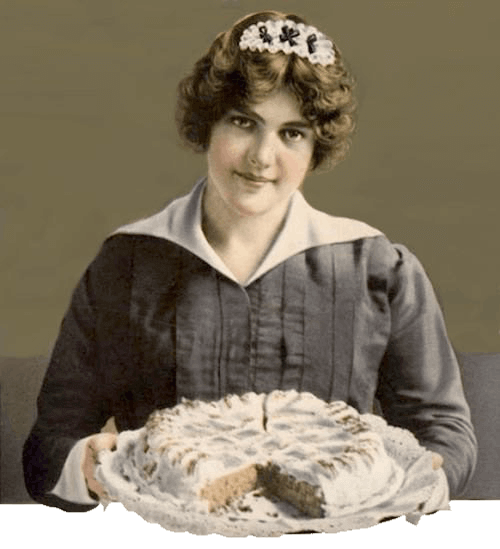 Vintage Illustration of a Housemaid with an Old Fashioned Dessert Cake