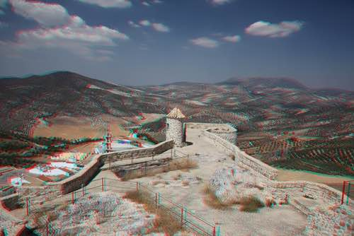Olvera in Cadiz, Andalusia, Spain in Anaglyph 3D