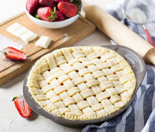 Strawberry Pie with a Lattice Top Ready for the Oven