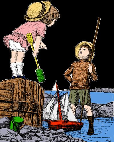 Vintage Illustration of Children Enjoying the Seaside