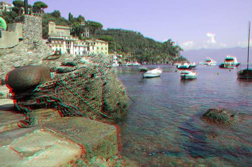 Harbor in Portofino in Liguria, Italy in Anaglyph 3D