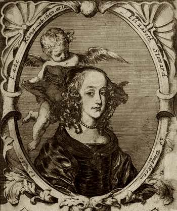 Antique Woodcut of HRH Princess Elizabeth Stuart of England