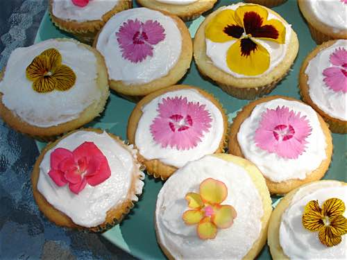 Cupcakes Decorated with Real Flowers