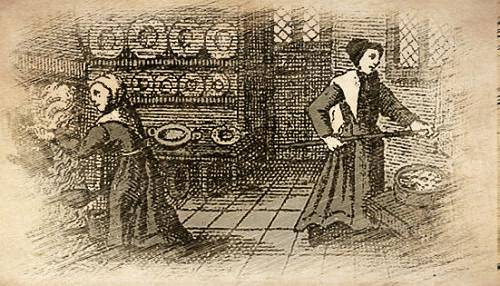 Historical Illustration of Cooks Baking Sweetmeats in a Renaissance Kitchen