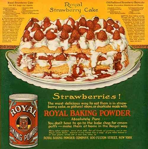 1919 Royal Baking Powder Ad with Strawberry Cake Recipe