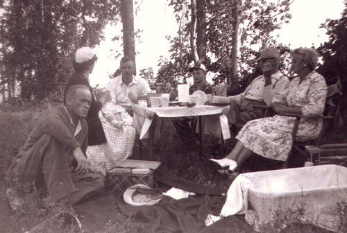 Sayer Family Enjoying a Picnic at Rice Lake, Ontario, in 1955