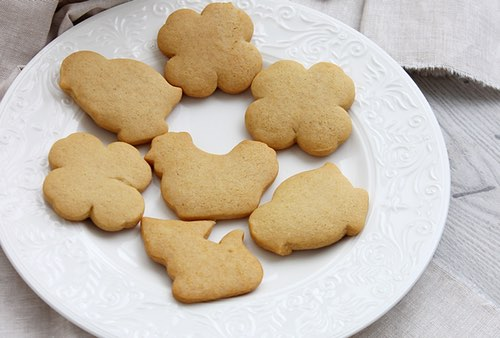 Plateful of Shortbread Cookies in Fancy Shapes
