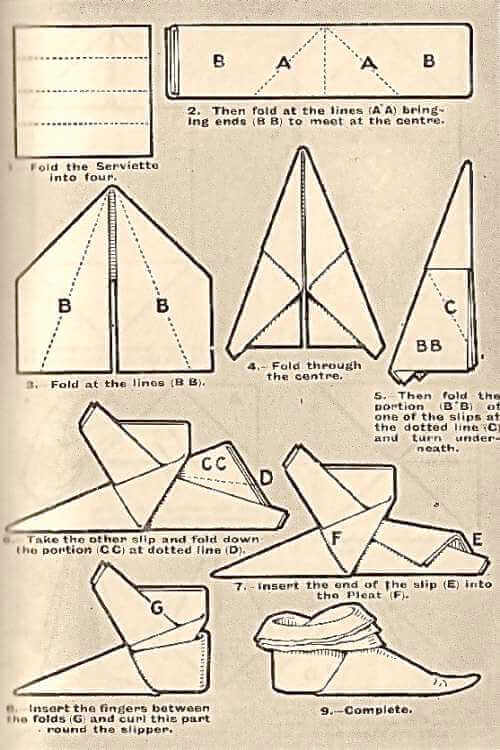 The Slipper Napkin Folding Technique