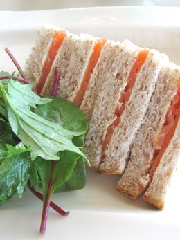Smoked Salmon Sandwiches Served with a Green Salad
