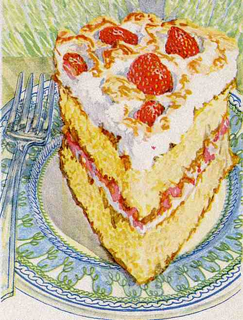 Strawberry Meringue Cake Illustration