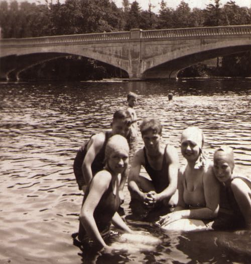 Young People Swimming in Otonabee River circa 1930