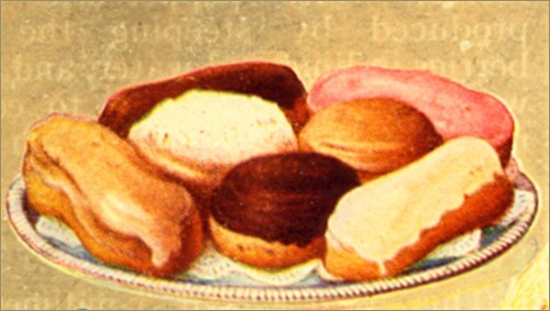 Traditional Iced Eclairs on a Serving Dish